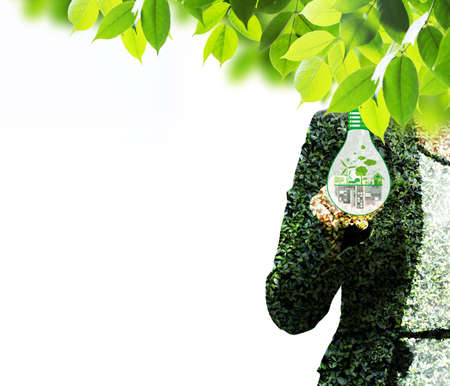 double exposure: Double exposure of ecology concepts Stock Photo