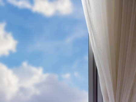 airy: Airy curtain at window in the bedroom Stock Photo