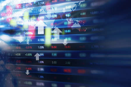 comercio: Diseño del fondo de mercado de valores Foto de archivo