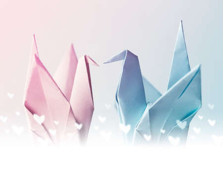 pacification: Origami couple paper crane with heart