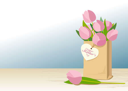 brown paper bag: Pink tulips in brown paper bag with mothers day card on wooden floor Illustration
