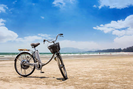 seaboard: Bicycle on the beach Stock Photo