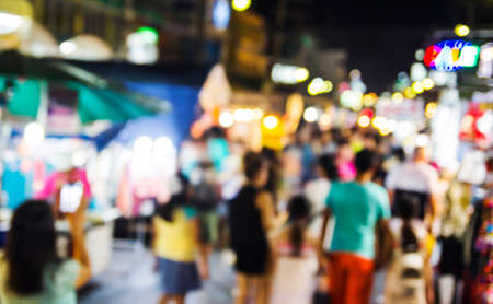 Abstract blurred of Hua Hin night market in thailand