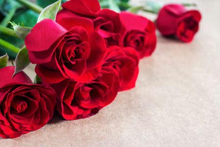 Roses rouges sur papier brun