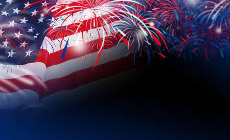 dia y la noche: bandera de EE.UU. con fuegos artificiales en el fondo del bokeh Foto de archivo