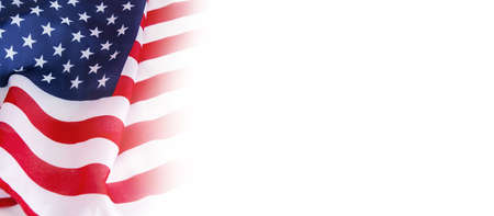 USA flag on white background