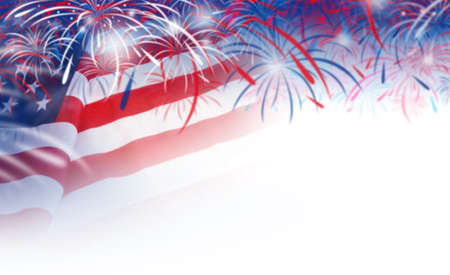 red america: Abstract blurred background of USA flag and fireworks