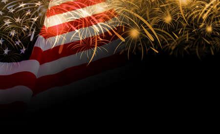 EE.UU. bandera y fondo de fuegos artificiales