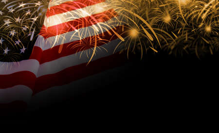 USA flag and fireworks background
