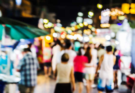 Abstract blurred background of Hua Hin night market in thailand Stock Photo