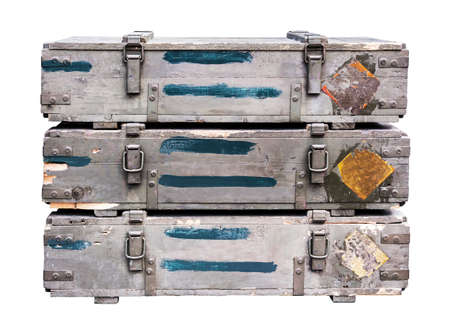 barrel bomb: Old crates for weapons Stock Photo