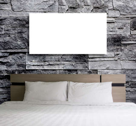 blank space: Blank frame on stone wall in the bedroom