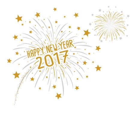 幸せな新年 2017 の白い背景の花火
