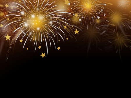 julio: fuegos artificiales de fondo de oro