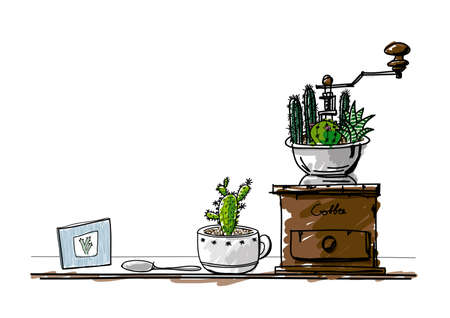 coffee grinder: Hand drawn cactus in cup and coffee grinder