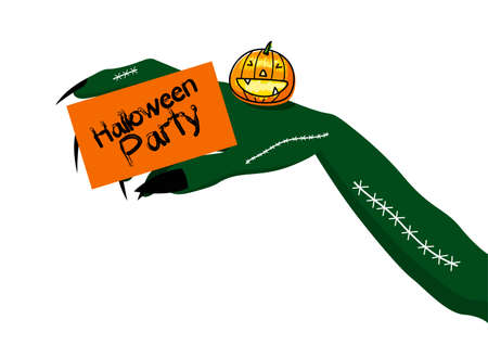 hand holding card: Halloween party design of devil hand holding invitation card