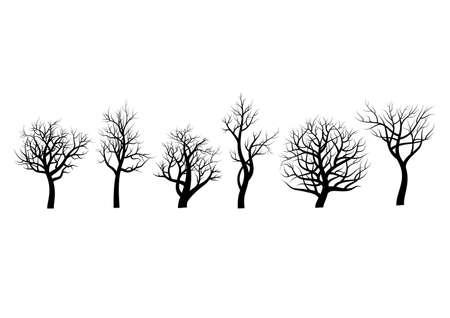 Set of trees sihlouette on white background Illustration