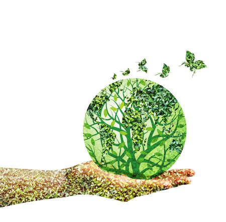 Green world in hand on white background