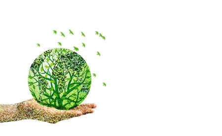 monde vert à la main sur fond blanc