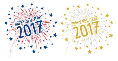 Fuegos artificiales con Feliz Año Nuevo 2017 en el fondo blanco