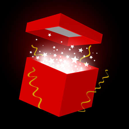 red gift box: Vector red gift box on black background