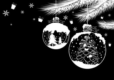 Christmas ball design on black background