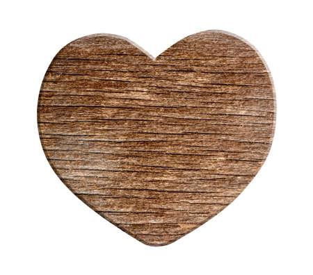 Houten hart op witte achtergrond met uitknippad