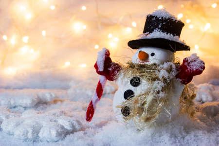 copyspace: Happy snowman standing in winter with copyspace Stock Photo