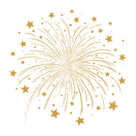 Vector gold firework on white background Çizim