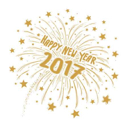 vector gold firework with happy new year 2017 on white background royalty free cliparts vectors and stock illustration image 67697879