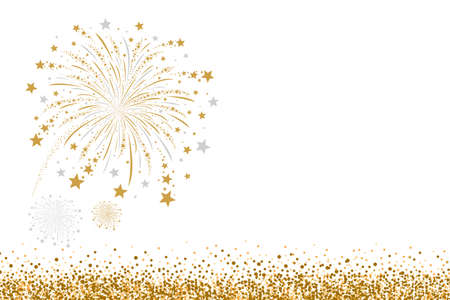 Vector gold and silver firework design on white background Иллюстрация