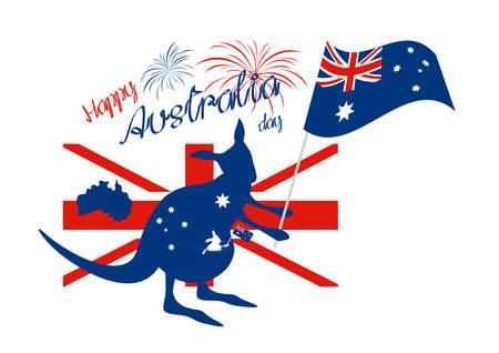 Kangaroo and australia flag with firework on white background