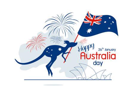 Australia day design of kangaroo and flag with firework on white background