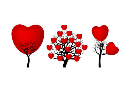 mariage: Red heart tree on white background