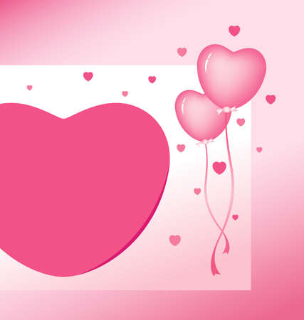 mariage: Vector pink heart balloon design for valentines day Illustration