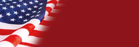 赤の背景にアメリカの国旗