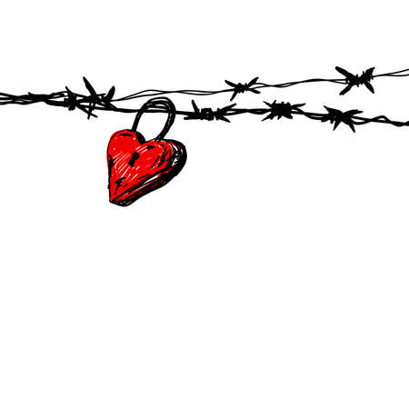 Love concept of hand drawn heart master key on barbed wire Illustration