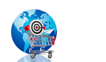 Online shopping and target concepts of shopping cart and dart board with globe isolated on white background