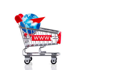 Online shopping concept of shopping cart with globe and paper plane isolated on white background