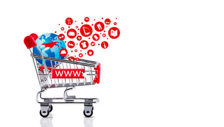 Online shopping concept of shopping cart with globe and icon design isolated on white background Stock Photo