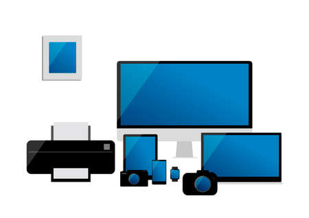 desktop printer: Vector electronic devices set of desktop computer, laptop, tablet, mobile phone, camera, watch and printer isolated on white background