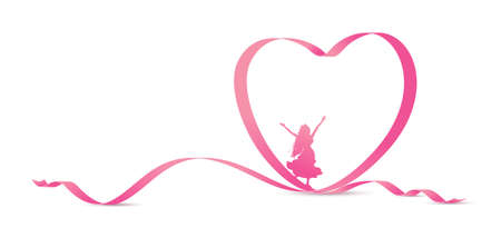 Happy womens day concept of woman and pink heart ribbon on white background Illustration