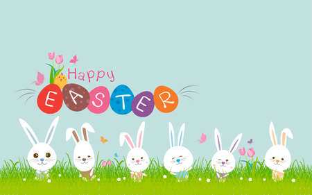 Happy easter concept of cute rabbit on green grass with copy space