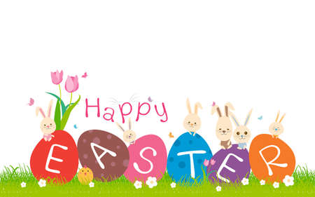 greensward: Happy easter concept of cute rabbit on green grass with copy space