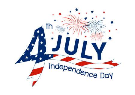 米国 7 月 4 日独立記念日デザイン白い背景の上