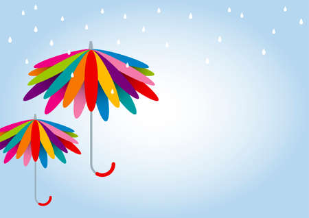 brolly: Vector colorful umbrella in rainy day with copy space