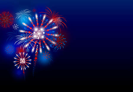 Vector firework design at night with copy space