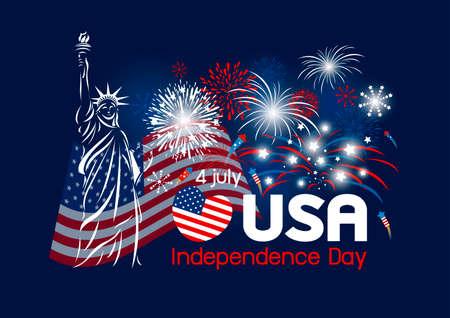 7 月 4 日独立記念日米国のデザインのベクトル。