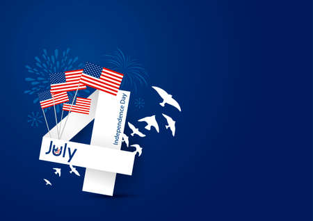 USA 4 july happy independence day design on blue background Illustration