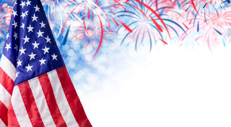 American flag and bokeh background with firework and copy space for 4 july independence day and other celebration 版權商用圖片 - 77911053